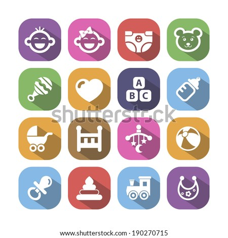 Colored baby icons with shadow, vector. - stock vector