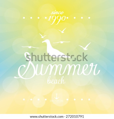 Colored background of a summer sky with text. Vector illustration - stock vector