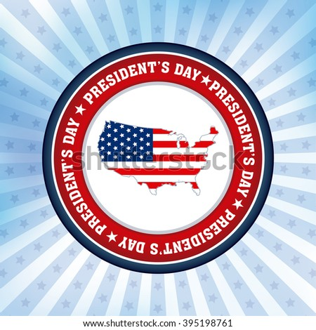 Colored background with a banner with text for president's day