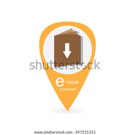Colored background with a golden e-book icon. Vector illustration - stock vector