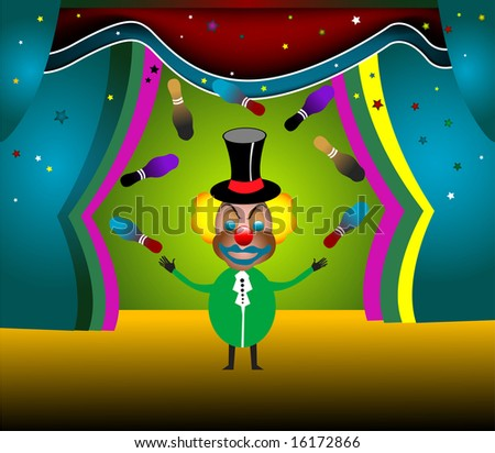 Colored background with clown playing with skittles on a stage - stock vector
