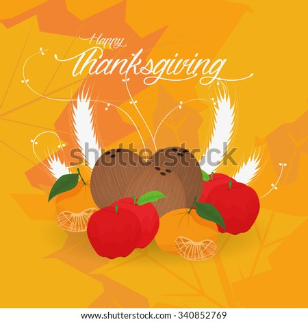 Colored background with leaves and text for thanksgiving day