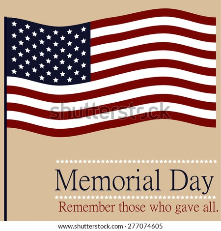 Colored background with text and elements for memorial day. Vector illustration - stock vector