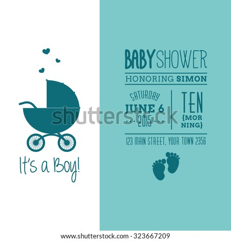 Colored background with text and icons for baby showers - stock vector