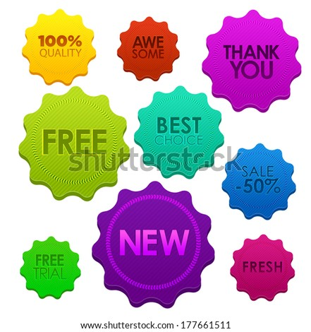 Colored badges. Vector illustration for your business website or blog. - stock vector