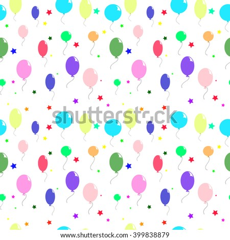 colored balloons and stars - stock vector