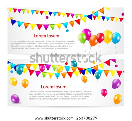 Colored Balloons Card Banner Background, Vector Illustration.  EPS 10 - stock vector