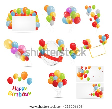 Colored Balloons Set, Vector Illustration EPS10  - stock vector