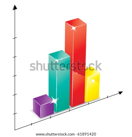 Colored bar graph showing evaluation of business - stock vector