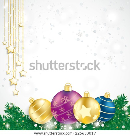 Colored baubles with fir branches on the blue background. Eps 10 vector file.
