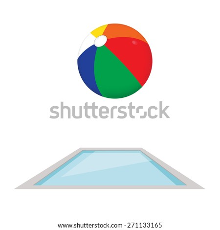 Colored beach ball in swimming pool vector.  - stock vector