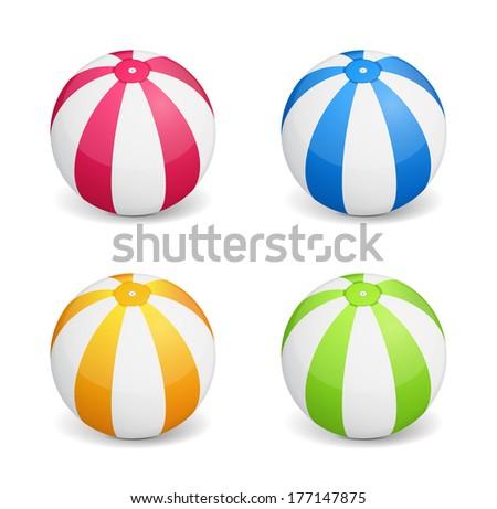 Colored beach balls on white background, vector eps10 illustration - stock vector