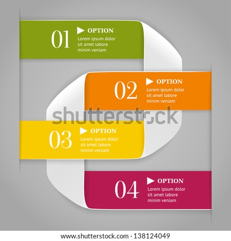 Colored bended lines with numbers on gray background. Trendy origami style options banner. Can be used for numbered options, web design, infographics. - stock vector