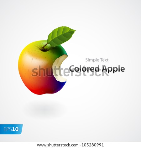 Colored bitten apple isolated vector eps10 image - stock vector