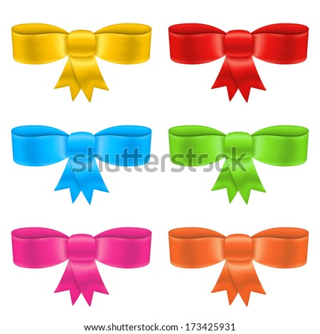 Colored bows on white background, vector eps10 illustration