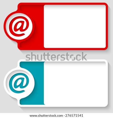 Colored boxes for your text and email icon - stock vector