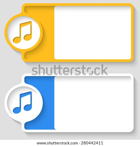 Colored boxes for your text and music symbol - stock vector