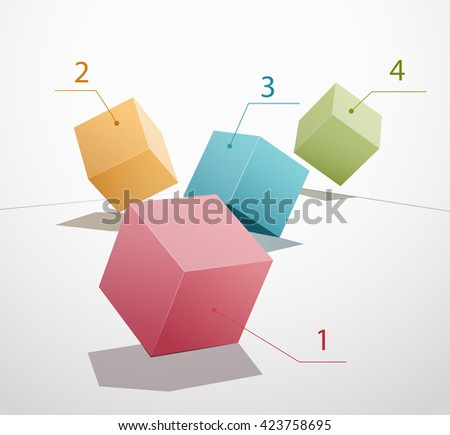 Colored boxes in motion on a white background. Vector illustrations. Red, blue, green, yellow cube. Elements of infographics. Numbering from 1 to 4. - stock vector