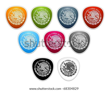 colored buttons. Mexican national emblem