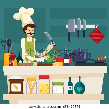 Butcher meat shop products service keeping stock vector for Cocinar imagenes animadas