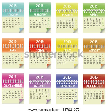 Colored Calendar 2013 - stock vector