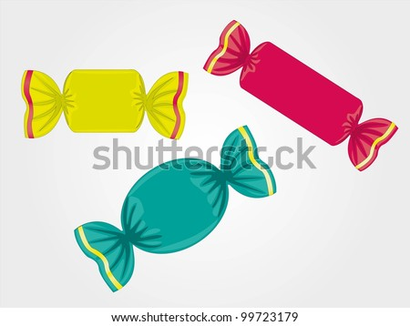 colored candies isolated on light gray background, vector illustration - stock vector