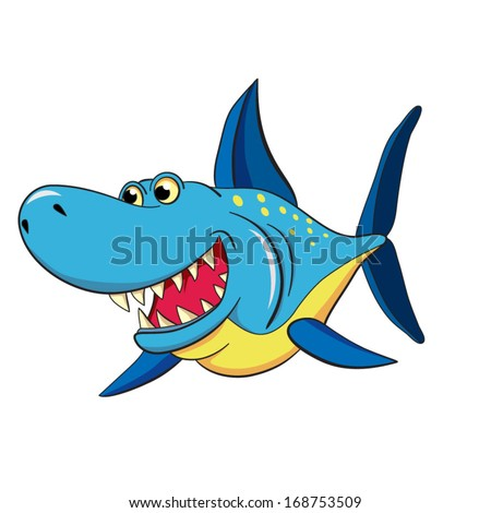 colored cartoon dental shark on white background.