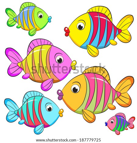 Colored cartoon fish on white background.