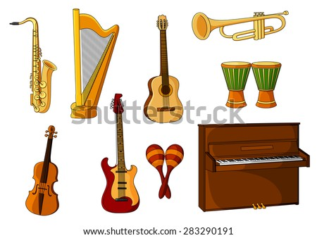 Colored cartoon musical instruments with a saxophone, harp, guitar, trombone, maracas, violin, drums and piano - stock vector
