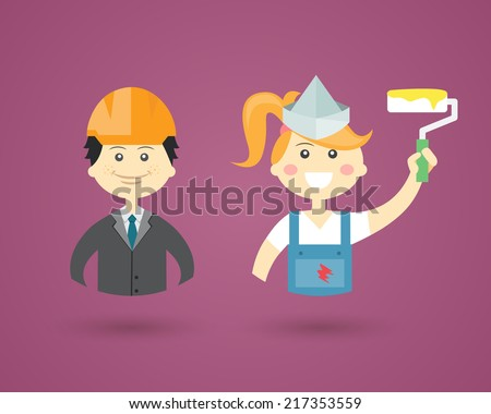 Colored cartoon vector character icons depicting Professions with a male architect or structural engineer in a hardhat and female Interior Decorator with a paint roller conceptual of construction - stock vector