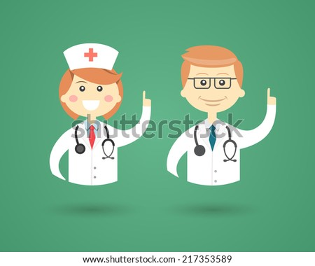 Colored cartoon vector character icons depicting Professions with a smiling friendly male Doctor and female Nurse in uniform with stethoscopes waving their hands - stock vector