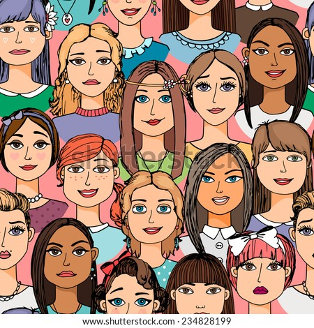 Colored cartoon women faces crowd doodle hand-drawn seamless pattern - stock vector