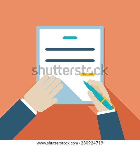 Colored Cartooned Hand Signing Contract Graphic Design on Orange Background. - stock vector