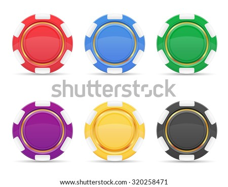 colored casino chips vector illustration isolated on white background - stock vector