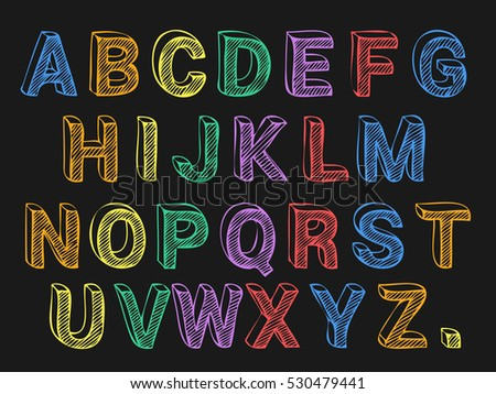 Colored chalk font on black background vector
