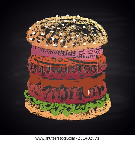 Colored chalk painted double burger. Burger menu theme. - stock vector