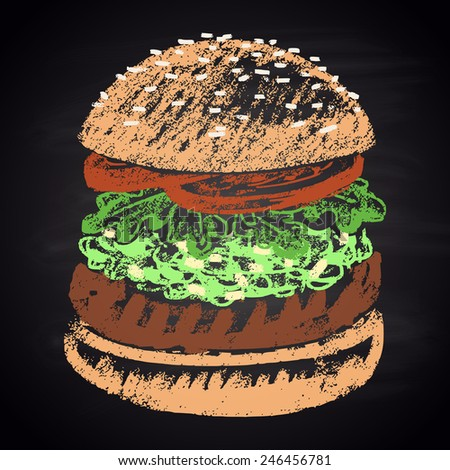 Colored chalk painted guacamole burger. Burger menu theme. - stock vector