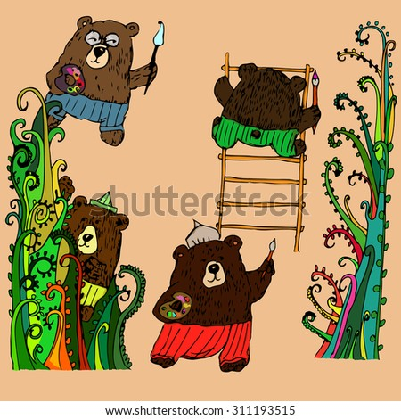 Colored childlike set of different bears isolated on light background and decorated with fantastic trees. Children production image, design element, cartoon sample.