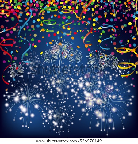 Colored confetti with ribbons and fireworks and on the white. Eps 10 vector file.