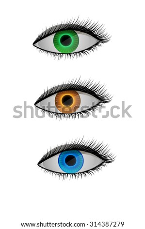 colored contact lenses, blue, orange and green eyes, vector - stock vector