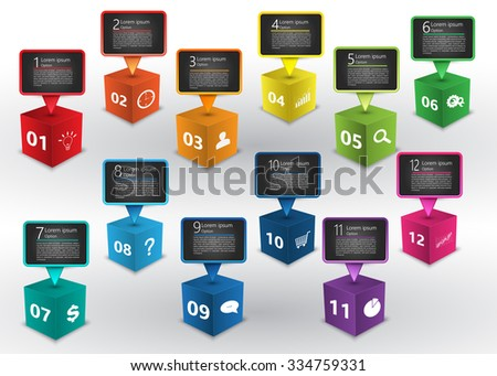 Colored Cube 3D with Speech Bubbles, Number and Business Icon, Text Information, 12  Options, Vector Illustration. - stock vector