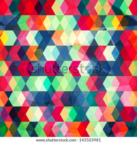 colored cubes seamless with grunge effect - stock vector