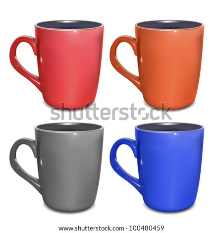 Colored cups on white background, vector illustration - stock vector