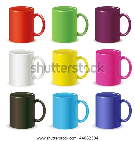 colored cups vector - stock vector