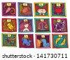 colored cute cartoon horoscope - stock vector