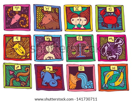 colored cute cartoon horoscope - stock vector