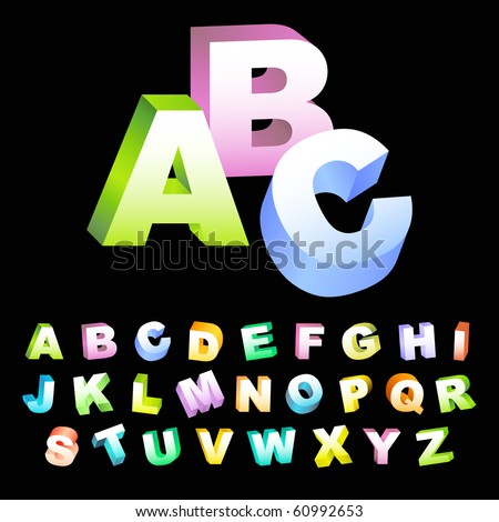 Colored 3d alphabet. Vector set. - stock vector