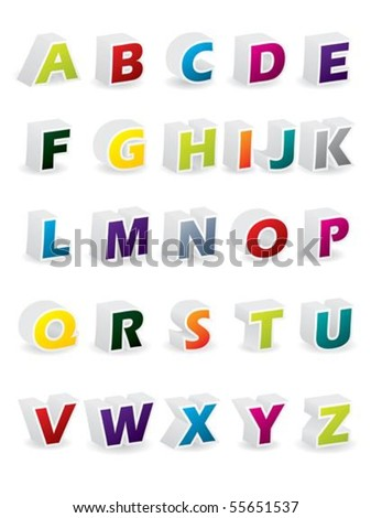 Colored 3d alphabet with shadows