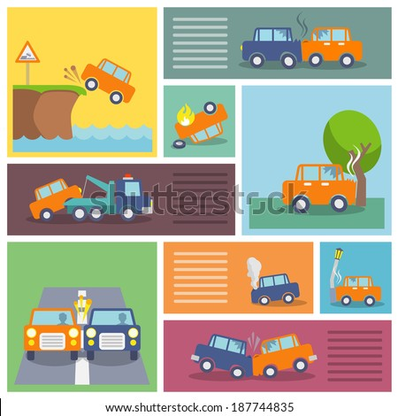 Colored decorative driving safety car security and auto crash protection  icons set isolated vector illustration - stock vector