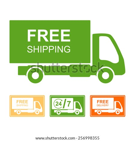 "Colored delivery sign or icon. Truck with ""Free shipping"" text. - stock vector"